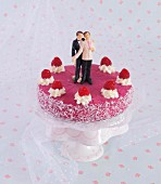 A gay raspberry wedding cake