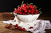Cherries in a colander