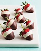 Chocolate dipped strawberries with dark and white chocolate