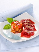 Raw tuna fish with a ratatouille jelly