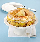 Pear tart with crispy filo pastry