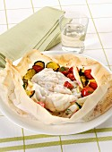Monkfish with Mediterranean vegetables in parchment paper