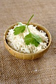 Basmati rice and fresh coriander leaves