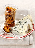 Roquefort cheese with dried fruit compote