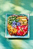 Tartare with vegetables and borage flowers