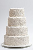 An elegant white wedding cake