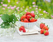 A bowl of strawberries on a garden table