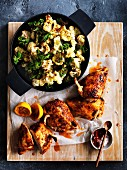 Roasted chilli chicken with cauliflower and kale