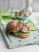 Cucumber and tuna fish sandwich