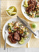 Grilled lamb steaks with vegetable rice