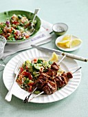 Lamb kebabs with harissa and tabbouleh