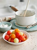 Spicy colourful melon ball salad