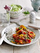 Piperade with mixed peppers and a side of rice