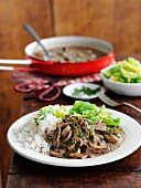 Quick beef stroganoff with mushrooms