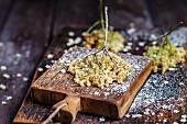 Baked elderflowers dusted with icing sugar