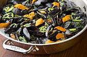 Mussel soup with sea urchins and seaweed