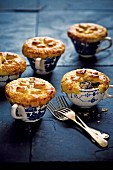 Puff pastry chicken pies baked in cups