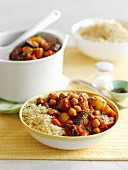 Aubergine and chickpea tagine with couscous