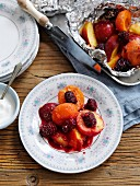 Fruit baked in aluminium foil