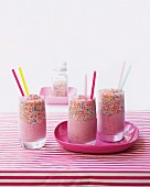 Strawberry yoghurt milkshakes