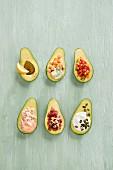 Avocado mit verschiedenen Füllungen
