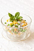Rice salad with sweetcorn and peas