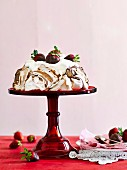 Chocolate strawberry pavlova
