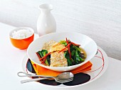 Sesame-crusted snapper with bok choy