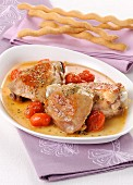 Braised chicken with cherry tomatoes