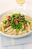 Garganelli with beef and peas