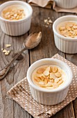 Milk pudding with flaked almonds