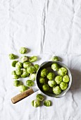 Brussels sprouts in a bowl and next to it