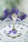 Lavender sugar on a silver spoon (close-up)