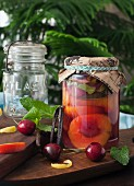 Preserved peaches in a jar