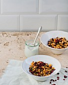 Beetroot muesli with whipped coconut cream