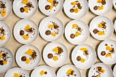 Artfully composed desserts for a pop-up fundraiser dinner with seasonal produce