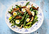 Green asparagus with fried oyster mushrooms and quail's eggs