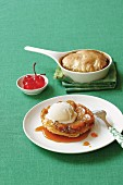 Banana tarte tatin with vanilla ice cream