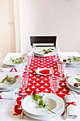 Table set for Valentine's Day