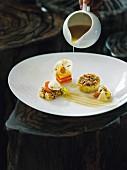 Sellerie in der Salzkrusten gebacken, Restaurant Kai3 im Hotel Budersand, Sylt