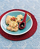 Crispy rice noodles scrambled eggs with spring onions and soy sauce (China)