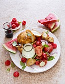 Panzanella with watermelon and breaded mozzarella