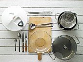 Utensils for making potato salad and sausages