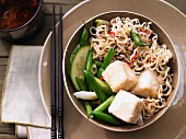 Spicy vegetable noodles with tofu, vegetarian