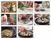 Mushroom carpaccio with pine nuts and Parmesan cheese being made