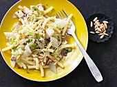 Macaroni with a fennel medley and pine nuts