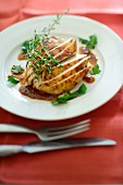 Chicken breast with a spicy sauce and herbs
