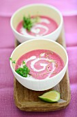 Beetroot soup with sour cream and cress