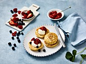 Crumpets with chia and strawberry jam