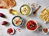 Various Middle Eastern dips: hummus, baba ganoush, muhummara